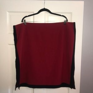 Red pencil skirt with black racer stripes/slits